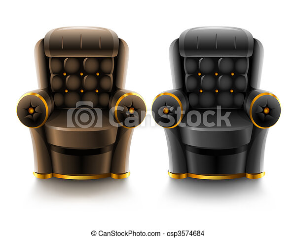 brown and black leather armchairs - csp3574684