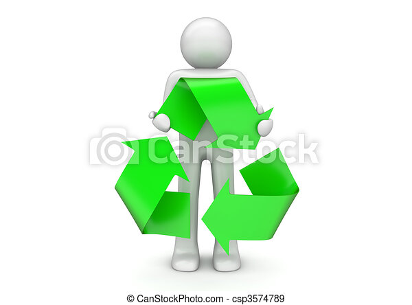 Recycling collection - Man holds international packaging sign - csp3574789