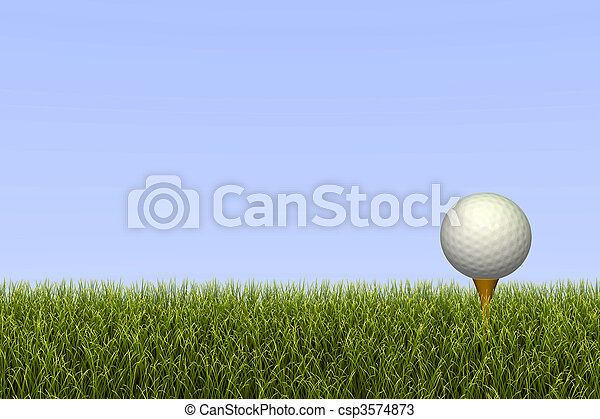 Golf ball on a tee against a grass and sky background.