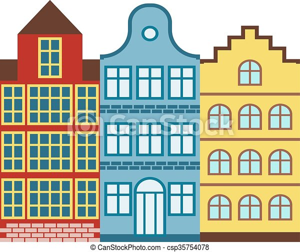 Vectors Illustration of Traditional old buildings Amsterdam house ...