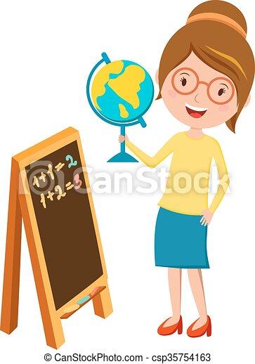Clip Art Vector of Happy primary school teacher with globe ...
