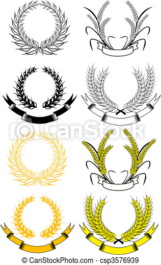 Set of laurel wreaths - csp3576939