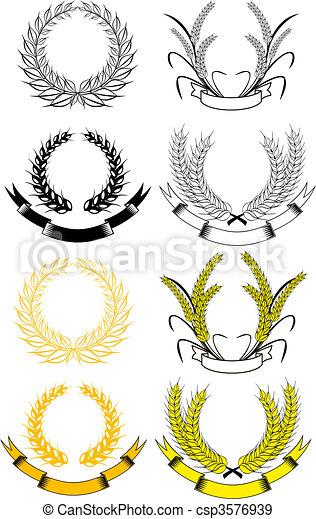 Set of laurel wreaths - csp3576939