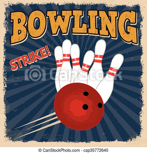 Bowling retro poster - csp35772640