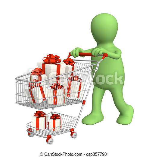 Clipart of Consumer with shopping cart and gifts. Over ...