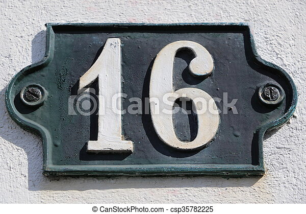 Stock photo of number 16 house number 16 csp35782225 for Number 16 house
