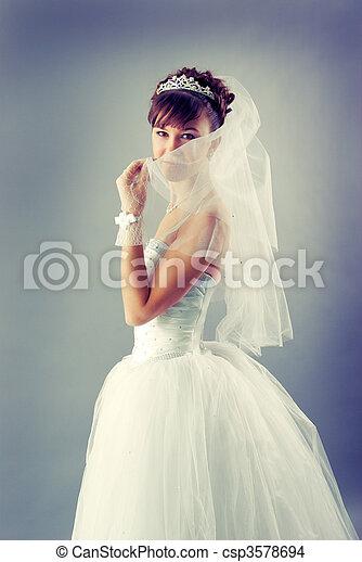 bride dressed in elegance white wedding dress   - csp3578694