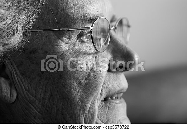 lado, senhora, rir, idoso, vista - csp3578722