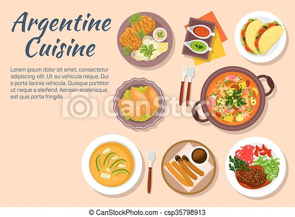 Vector clip art of authentic dishes of argentine cuisine for Artistic argentinean cuisine