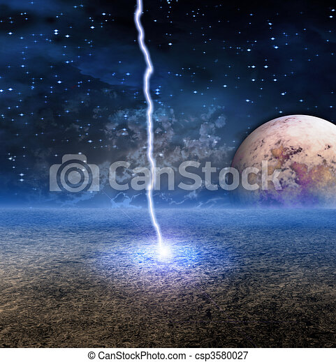 Energy Discharge on Alien Moon - csp3580027