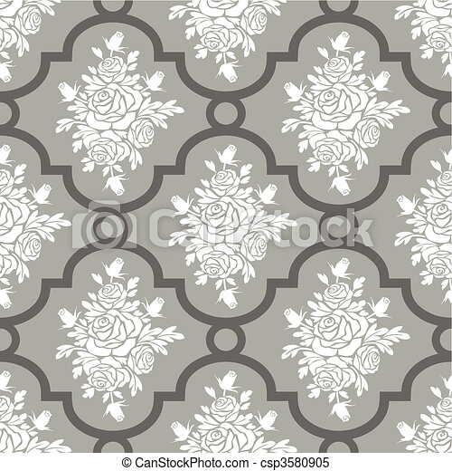 White roses seamless pattern - csp3580905