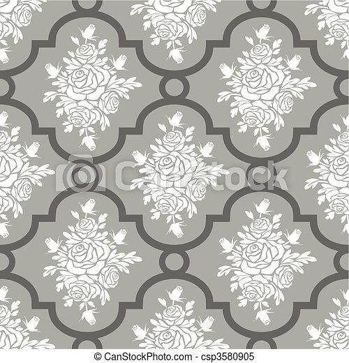 White roses seamless pattern - csp3580905