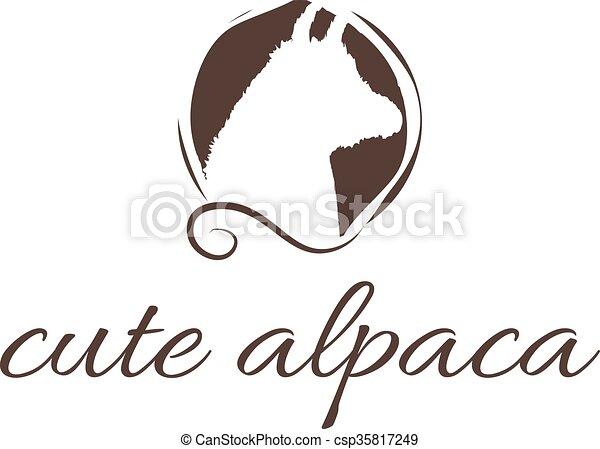 abstrakcyjny, alpaka, ilustracja, ikona - csp35817249
