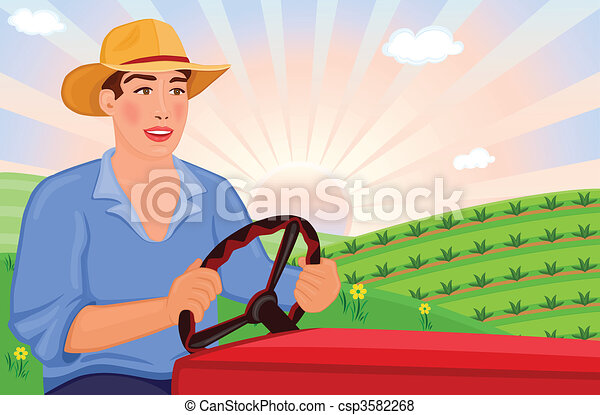 Farmer driving tractor  - csp3582268