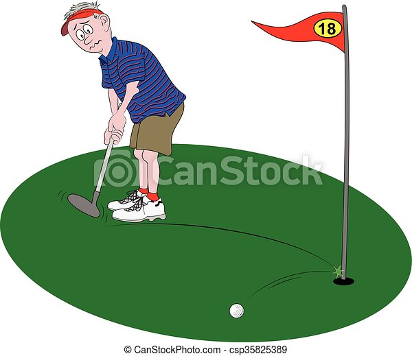 Golfer Putting - Royalty Free Vector Image - csp35825389