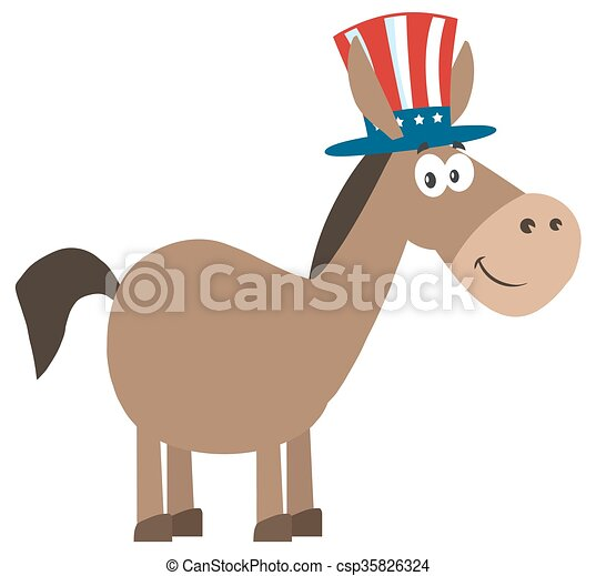 Donkey With Uncle Sam Hat - csp35826324