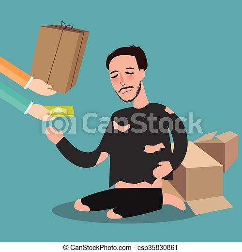 Clip Art Vector of giving money to poor homeless living ...