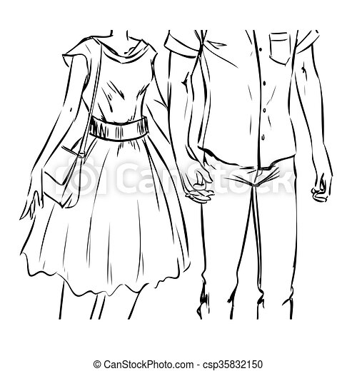 Clipart Vector of Girl and boy hold hands on a date - Young modern ...