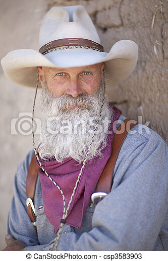 Cowboy With a Long White Beard - csp3583903