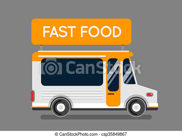 Fast food truck city car. Food hipster truck, auto cafe, mobile kitchen, hot fast food, vegetables. Design elements. Isolated on white. Street food car. Food truck Street food van