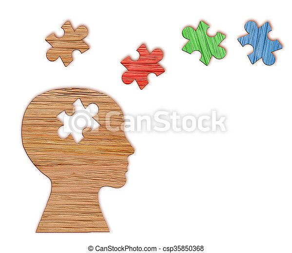 Human head silhouette with a jigsaw piece cut out on white background, mental health symbol. Puzzle.