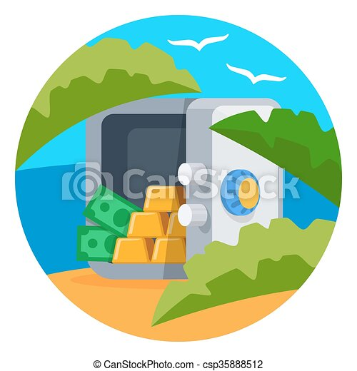 Open safe with gold bars vector - csp35888512