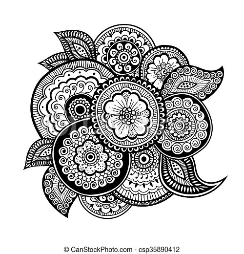 Mehndi Adult Coloring Pages