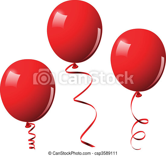 Vector illustration of red balloons - csp3589111