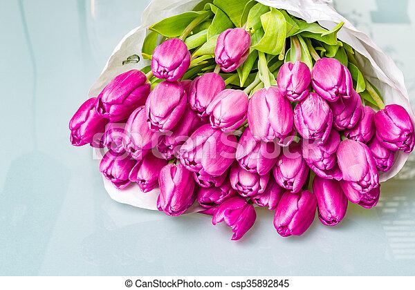 photo de fleur rose, bouquet, anniversaire, tulipe, papier