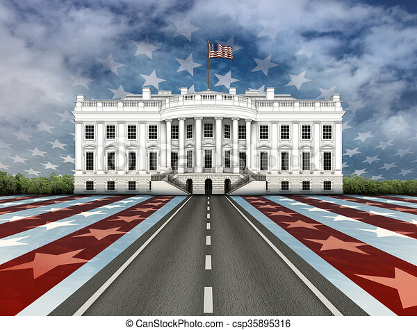 Clipart of Road to the White House - Digital illustration of the ...