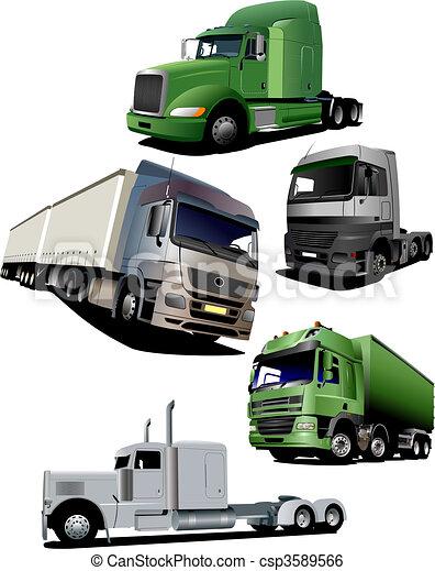 Vector illustration of five  truck - csp3589566