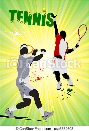 Tennis player poster. Colored Vect - csp3589608