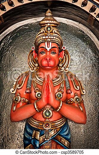 Hanuman statue in Hindu Temple. Sri Ranganathaswamy Temple. Tiruchirappalli (Trichy), Tamil Nadu, India - csp3589705
