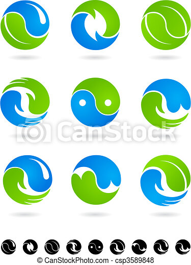 Collection of conceptual  Yin Yang symbols - csp3589848