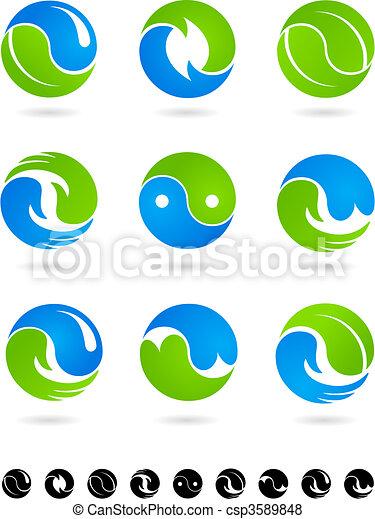 Collection of conceptual  Yin Yang symbols - csp3589848