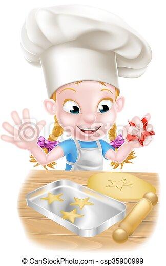 Eps vectores de chef ni a hornada caricatura - Nina cocinando ...