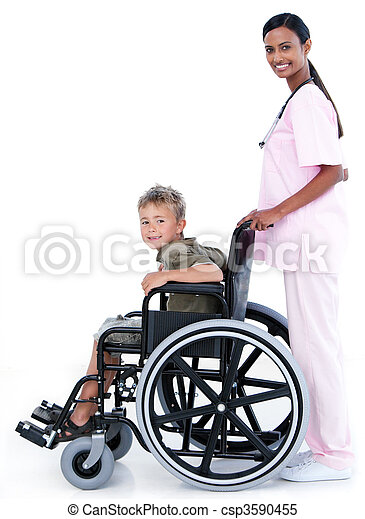 Assertive female doctor carrying a patient in a wheelchair - csp3590455