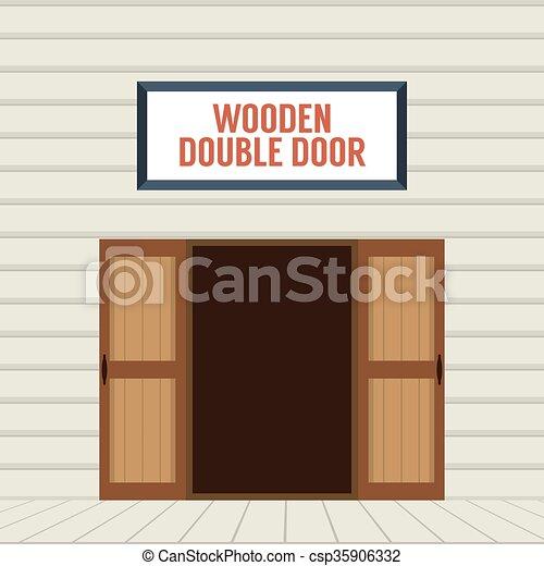 Open Double Door Drawing vectors of open wooden double door. - flat design open wooden