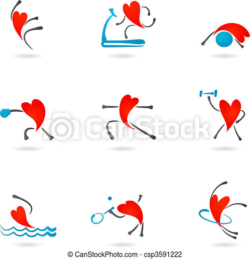 Fitness heart icons - csp3591222