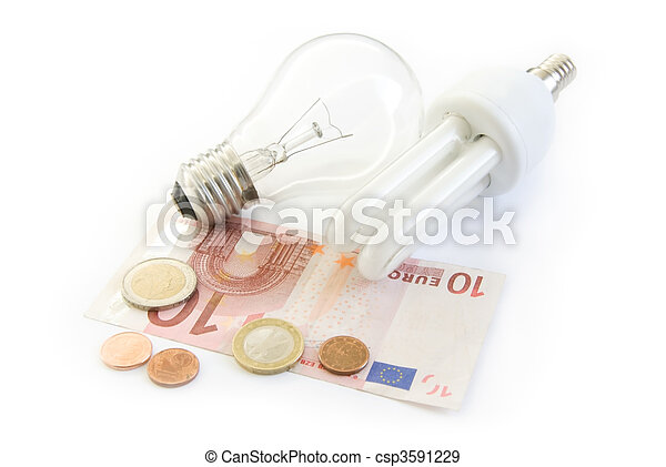 light bulb and energy saving lamp with euro money - csp3591229