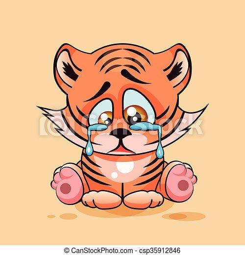 Vecteur eps de tigre petit pleurer triste vecteur stockage csp35912846 recherchez - Dessins triste ...