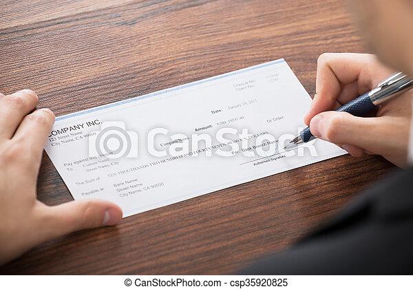 hombre de negocios, relleno, blanco, cheque - csp35920825