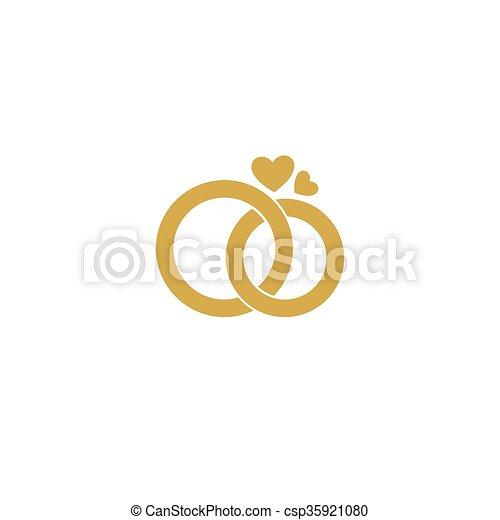 Vector Of Wedding Logo Gold Wedding Rings Stylized Engagement