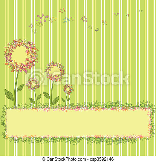 Spring flowers green yellow stripe - csp3592146