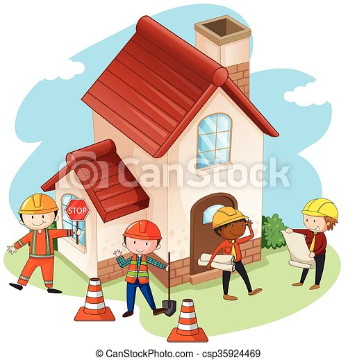 Clip art vector of construction workers building house for How to find a home builder