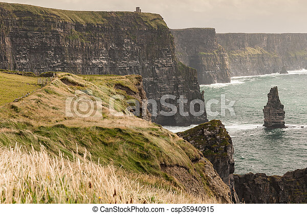 Famous Scenic Cliffs Of Moher, WildAtlanticWay, County Clare, Ireland  - csp35940915