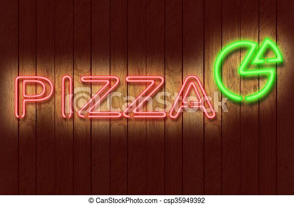 Neon PIZZA sign - csp35949392