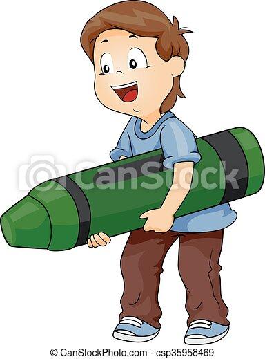 Clip Art Vector of Kid Boy Big Green Crayon - Illustration of a ...