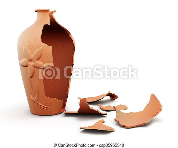 Drawings of Broken clay vase isolated on white background. 3d ...