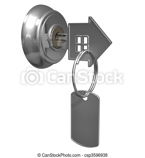 Key with label in keyhole  - csp3596938